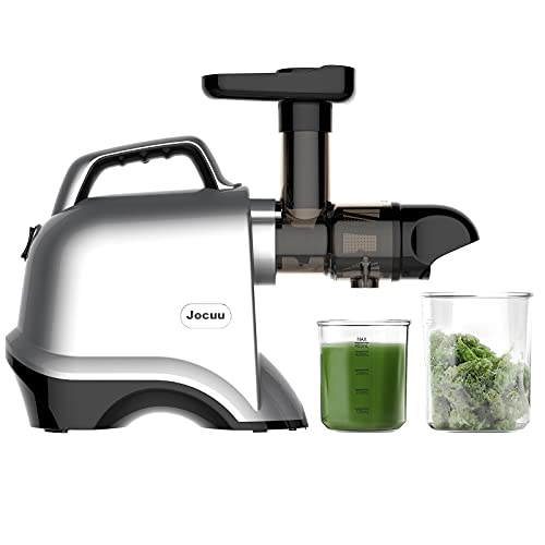 Juicer Machines, Jocuu Slow Juicer Masticating Juicer, Cold Press Juicer Extractor Easy to Clean, Quiet Motor, Reverse Function, BPA-Free, for Fruits and Vegetables, , with Brush and Recipes, Silver