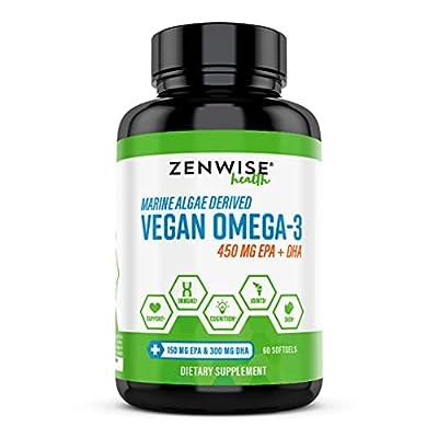 Vegan Omega 3 Supplement - Fish Oil Alternative Source for EPA & DHA Fatty Acids - for Joint Support & Immune System - Heart & Skin + Brain Health Booster - Marine Algal Formula