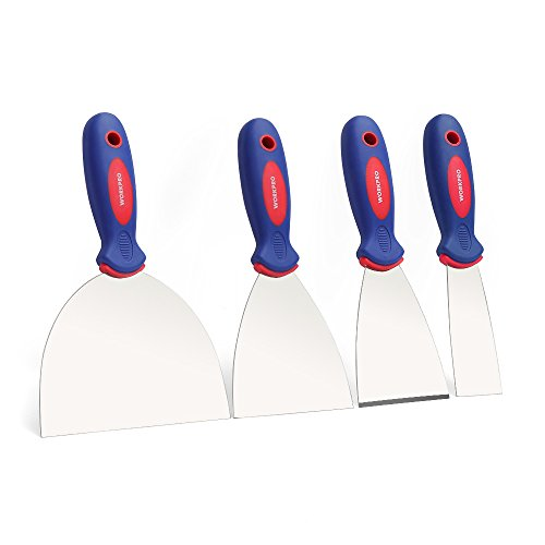 WORKPRO 4-Piece Putty Knife Set, Stainless Steel Made - Perfect for Drywall Spackle, Taping, Scraping Paint, 1.5