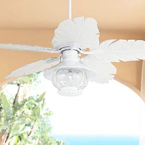 "52"" Casa Vieja Tropoical White Palm Leaf Outdoor LED Ceiling Fan - Casa Vieja"