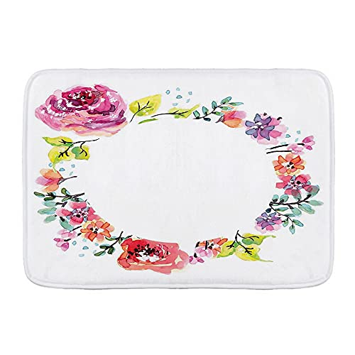 KASMILN Alfombra de baño,Guirnalda de Flores Redonda Marco Floral Fresco romántico,Alfombra de baño Antideslizante de Agua de Alta absorción