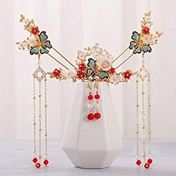 Ancient Style Tassel Shaking Gold Butterfly Hairpin Pearl Tassel Flowers Hair Stick Chinese Hanfu Headdress Women Hair Accessories