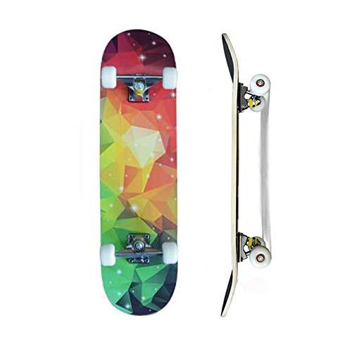 Skateboard completo da 79 x 20 cm, tavola in legno d'acero canadese a 7 strati e ruote 85 A per bambini, ragazzi e adulti (Gorgeous Colors)