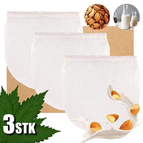 KYONANO Nussmilchbeutel, 3 STK. Nussmilchbeutel Bio aus natürlicher Hanffaser, Passiertuch Wiederverwendbar, Vielseitiges Feinmaschiges Filtertuch Seiher für Nussmilch Obstsaft Kaffee Smoothies