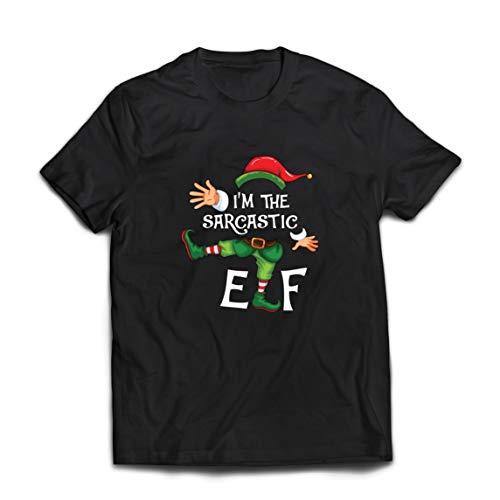lepni.me Camisetas Hombre Navidad Graciosa El Elfo sarcstico Hilariuos Traje de Fiesta (XXX-Large Negro Multicolor)