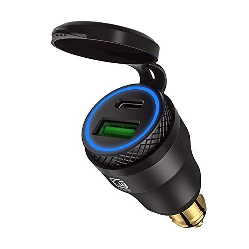 USB-Zigarettenanzünder-Adapter für BMW Motorrad DIN/Hella EU Stecker - Dual Ladegerät Adapter Steckdose USB C PD 3.0 & QC 3.0 Schnellladung Buchse für Motorrad Boot LKW Wohnwagen ATV