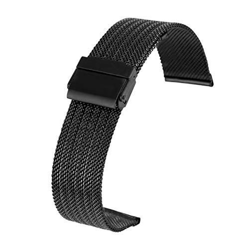 ZXF Correa Reloj, 18MM 20MM 22MM Acero 24MM / / / Acero Inoxidable de Malla de Correa con la Correa de la Hebilla del Gancho Pulsera (Band Color : Black, Band Width : 20mm)