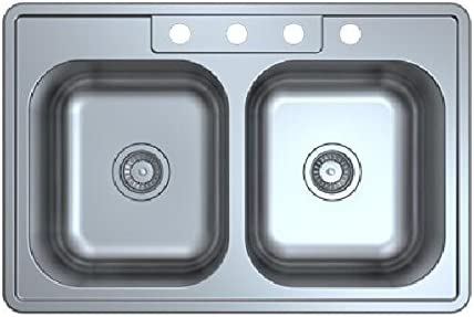 33 drop in top mount stainless steel kitchen sink 33 X 22 X 9 double bowl 50 50 18 Gauge four product image