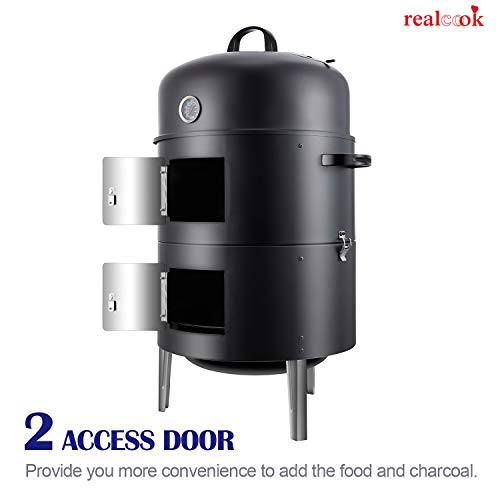 Realcook 17-Inch Heavy Duty Round Vertical BBQ Charcoal Smoker