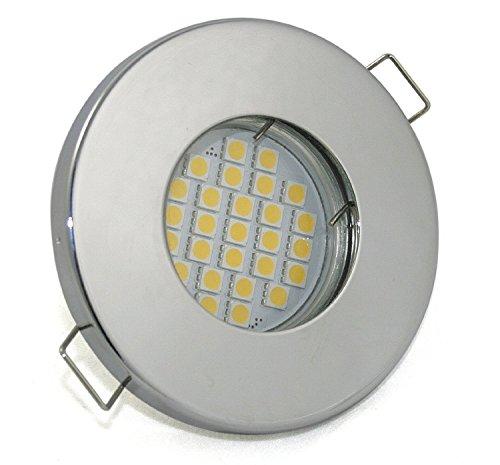 Set Bad Einbaustrahler IP65 Farbe: Chrom | 5Watt - 430Lumen LED Leuchtmittel kalt-weiss GU10 230Volt | Für Bad, Sauna, Dusche, Vordach, Keller uvm.