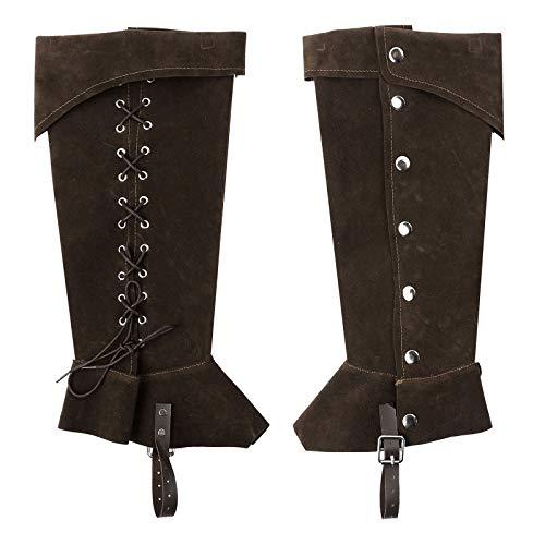 iiniim Unisexo Botas Altas Vintage Cubre Botas Gótico Medieval Botas de Caballero Botas de Cuero de PU Hebilla de Cinturón Botas hasta Las Rodillas para el Disfraz de Pirata