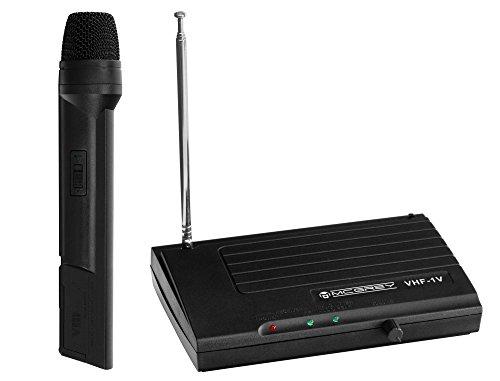 McGrey VHF-1V Funk Mikrofon Set mit 30m Reichweite (Wireless Komplettset mit 1 x Handmikrofon, Betriebsdauer ca. 8 Stunden, 6,3mm Klinke Ausgang) schwarz