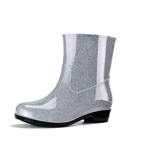 Stiefel Industrie & Handwerk Regenstiefel Kurze Röhre Erwachsene Mode Sommer PVC Überschuhe Höhe 6 Zoll (Color : Gray, Size : 38)