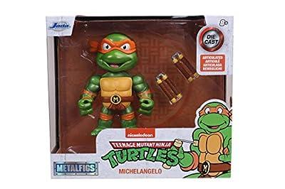 Jada Toys Teenage Mutant Ninja Turtles 4 Michelangelo Die-cast Figure, Toys for Kids and Adults, Orange, 31848