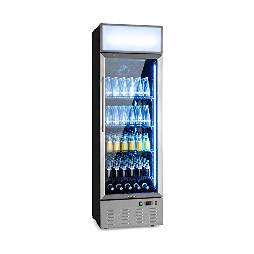 Klarstein Berghain Pro Getränkekühlschrank, 278 Liter, 60x189x58,5cm (BxHxT), 2-8 °C, Werbefläche, Leuchtaufsatz, abschließbar, Glastür, RGB-Ambiente Innenbeleuchtung, Edelstahl, Flaschenkühlschrank