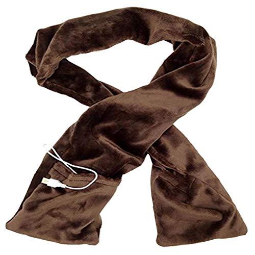 AGQH Bufanda térmica de invierno con USB para aliviar el dolor de cuello, color sólido, suave de felpa, para caminar, esquiar, camping, color marrón