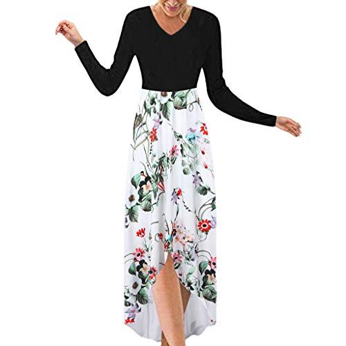 MAYOGO Vokuhila Kleid Damen Langarm/Neckholder Kleider Blumen Kleid Vorne Kurz Hinten Lang, Elegant Spaghetti Sommerkleid Langarm Herbst Kleid Freizeitkleid Strand Kleid V-Ausschnitt Casual