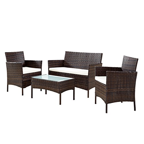 EBS My Furniture Rattan Garden Furniture Sofa Set Patio, Outdoor Set Wicker White Cushioned Coffee Table + 2 Chairs - Brown