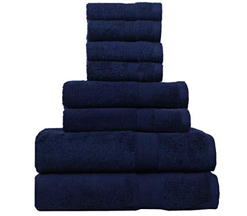8-teiliges Handtuch-Set, 100% gekämmte Baumwolle, Luxus-Handtuch-Set, Premium-Qualität, für Badezimmer, Fitnessstudio, Hotel, Spa und Reisen, Handtuch, Gesichtstuch, Badetücher 8 pc towel set navy