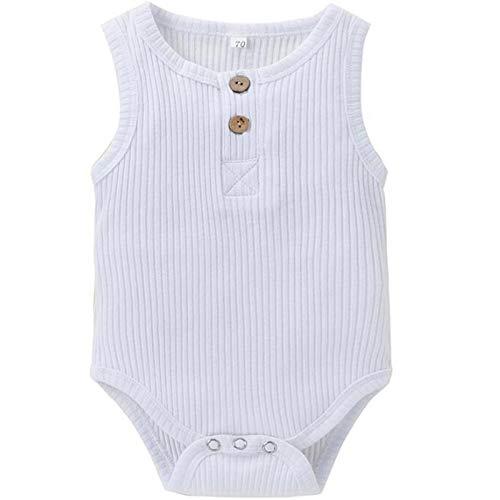 Beudylihy Mono sin mangas para bebé, body para niños y niñas, mezcla de algodón, cuello redondo, suelto, para verano, fácil de poner y quitar. blanco 6-9 Meses