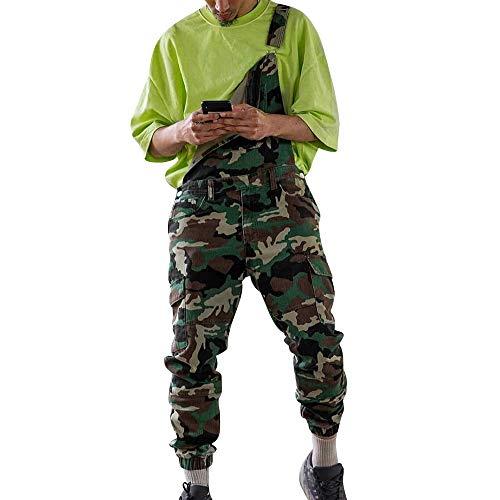 Adisputent Herren Camouflage Denim Washed Lätzchen Lose Arbeitslatzhose Latzhose Multifunktion Hose Bib Overall