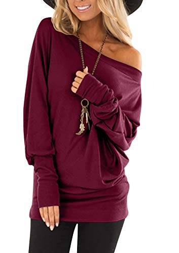 flying rabbit Damen Langarmshirt Damen Shirt Damen Langarm top One Shoulder einfarbig sexy Casual Basic T-Shirt Tops Blouse (Redwine, medium)