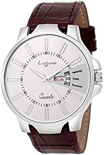 Lugano Analogue Off White Dial Casual Day and Date Brown Slim Leather Men's Watch