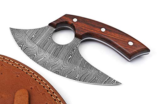Handmade Damascus Steel Ulu Knife - Fixed Blade knife for Chopping Boning Slicing Cutting ,Solid Rose Wood Handle with Leather Sheath