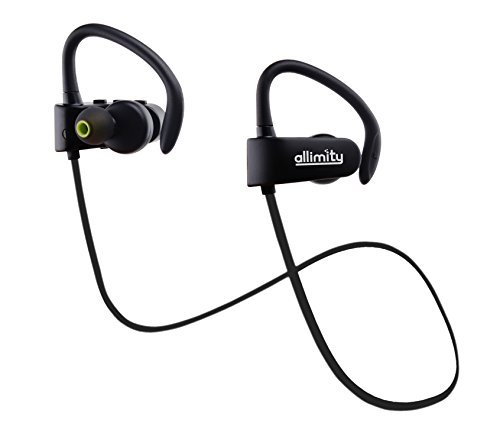 ALLIMITY Wireless Bluetooth Stereo in Ear Headphones with Mic Sweatproof Sports Earphones for iPhone iPad Samsung and Most iOS Android Phones Secure Fit for Sports
