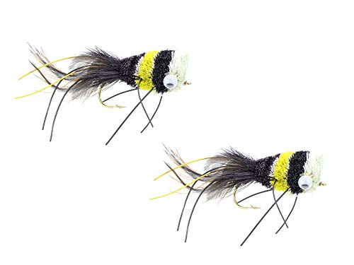 Wild Water Fly Fishing Black, Yellow and White Deer Hair Bass Bug, Size 2, Qty. 2