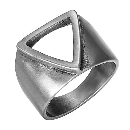 anillos, anillo de hombre creativo, diseño de triángulo hueco retro, pulido alto no es de acero inoxidable, puede servir como un regalo festivo