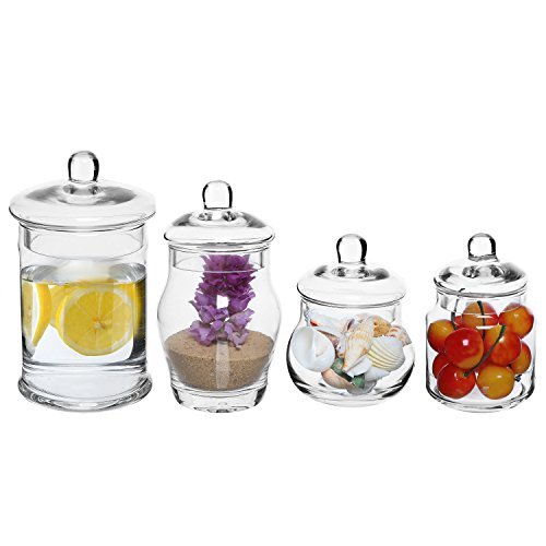 MyGift Set of 4 Small Decorative Clear Glass Apothecary Jars, Wedding Centerpiece Storage Canisters with Lids