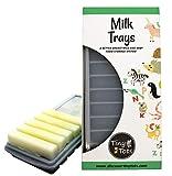 Breast Milk Freezer Storage Trays, 10-1oz Bars, 2 Gray Silicone Tray Containers w/Leak Resistant Lids,