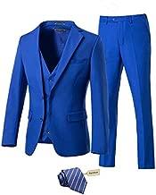 Yanlu Men's 3 Piece Royal Blue Suits 2 Buttons Wedding Groom Tuxedos Prom Party Suits Dress Suits for Men-4640