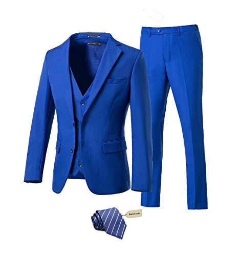 Yanlu Men's 3 Piece Royal Blue Suits 2 Buttons Wedding Groom Tuxedos Prom Party Suits Dress Suits for Men-3832