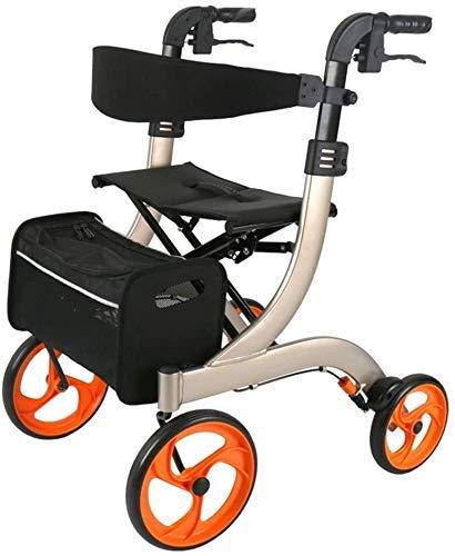 SFSGH Andador con Ruedas Drive Medical Andador con Ruedas Plegable, Andador con Andador para jóvenes con Asiento, 4 Ruedas, ayudas médicas para Caminar, Sistema de Doble Freno, Utilizado