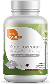 Zahler Zinc 25mg Chewable Lozenges Tablets with Elderberry