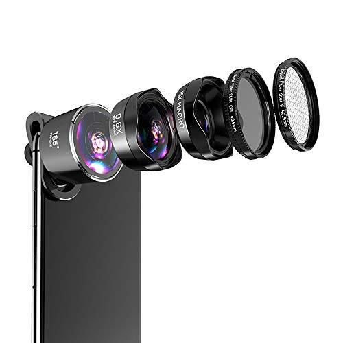 Covan_CN Externe Linse für Mobiltelefone, Fünf-in-Eins-Linse, 0.6X Weitwinkel + 15X Makro + Fischauge + Polarisator + Sternspiegel, Geeignet für Smartphones