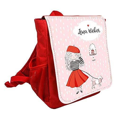 wolga-kreativ Kleiner Rucksack Kindergartentasche Mädchen Jungen Paris Hund Kinderrucksack Kindergartenrucksack Jungs Kinder mit Namen Tagesrucksack Kindergarten Kindertasche