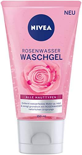NIVEA Rosenwasser Waschgel (150 ml), Gesichtsreinigung mit MicellAIR Technologie und natürlichem Rosenwasser, Reinigungsgel für alle Hauttypen
