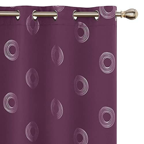Amazon Brand - Umi 2 Stück Vorhang Blickdicht Gardinen Lichtundurchlässig Thermo Runde Muster Wohnzimmer 245x140 cm Lila