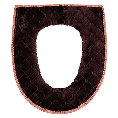 BESPORTBLE, capa de assento de vaso sanitário, macia, mais espessa, com zíper, lavável e confortável, capa de assento para vaso sanitário para as quatro estações (marrom)