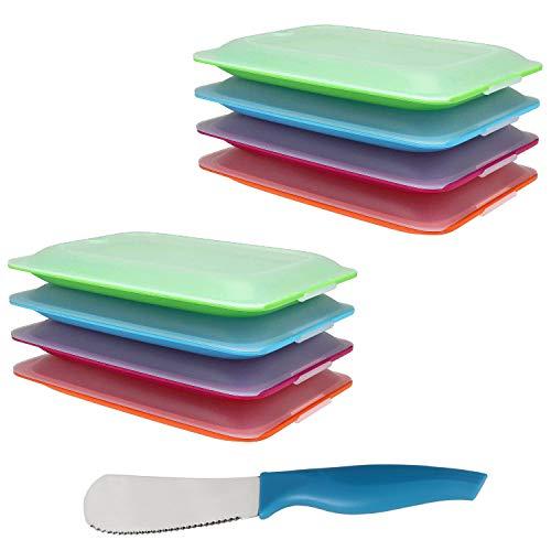 K&G Hochwertige Aufschnitt-Boxen Set platzsparend stapelbar Stapelboxen Vorratsdosen-Set für Aufschnitt Inkl. Brötchenmesser integrierte Servierplatte. Frischhaltedosen Kühlschrank (8er Sortiert)