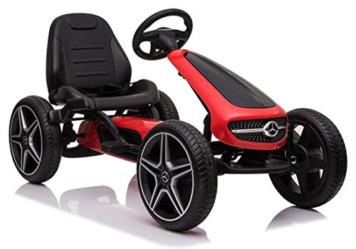 fit4form Kinder Go Kart Mercedes Benz Top Speed Red Racer Tretauto Gokart 3-8 Jahre