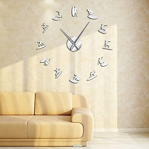 Siluetas de surf arte de pared pegatinas espejo DIY gran reloj de pared deporte acuático wakeboarding surfistas decoración del hogar relojes de pared modernos (plateados, 37 pulgadas)
