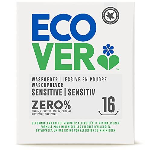 Ecover ZERO Waschpulver (1,2 kg/16 Waschladungen), Sensitiv Waschmittel mit pflanzenbasierten Inhaltsstoffen, Waschmittel Pulver für Allergiker und empfindliche Haut