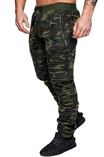 Amaci&Sons Herren Zipper Biker Style Camouflage Trainingshose Jogginghose Sporthose 2007 Camo Khaki L