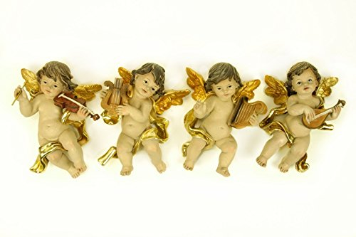 "4 Figuras Religiosas Decorativas Pared"" Ángel con Instrumento"". 11 x 17 x 7 cm."