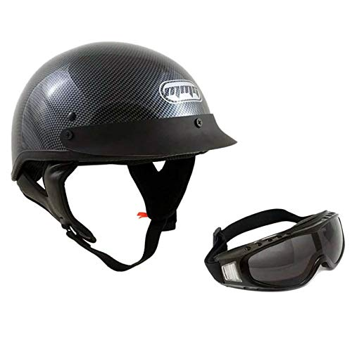 MMG 205 Motorcycle Half Shell Cruiser Helmet DOT Street Legal, Carbon Fiber, Small, Includes Riding Goggles