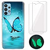 YiKaDa - Cover Compatibile con Samsung Galaxy A32 4G (Non 5G) + [2 Pack] Pellicola Protettiva in Vetro Temperato, Custodia Luminosa Morbida in Silicone TPU - Glitter Farfalla